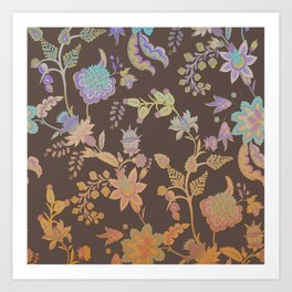 Chateau Brown Chinoiserie Decorative Floral Motif Chintz Art Print