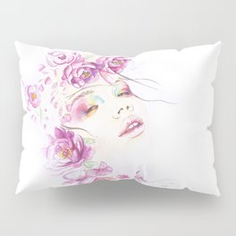 Girl with Flower Crown Watercolor lavender pink peonies Pillow Sham
