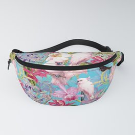 Vintage & Shabby Chic - Pink Tropical Birds and Orchid Flower Pattern Fanny Pack