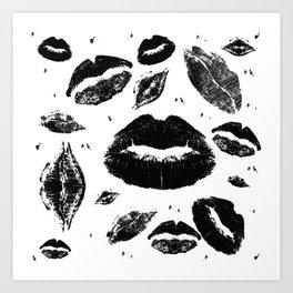 Kisses All Over (Black & White) Art Print
