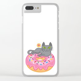My cat loves donuts 2 Clear iPhone Case