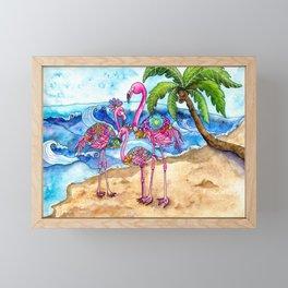 The Flamingo Family's Day at the Beach Framed Mini Art Print