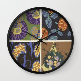 vintage trendy floral pattern design Wall Clock