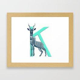 K is for Kudu Letter Alphabet Decor Design Art Pattern Framed Art Print