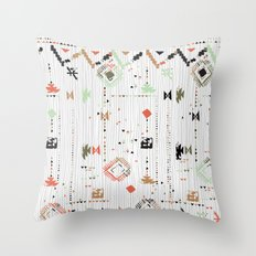 Print with stripes and lines, abstract shapes and dots Throw Pillow