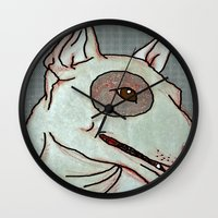 bull terrier Wall Clocks featuring Bull Terrier by Just Bailey Designs .com