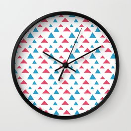 Tribal hand painted blue bright pink watercolor pattern Wall Clock