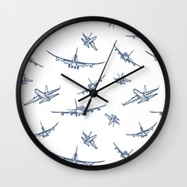 Blue Airplanes Wall Clock