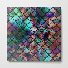 Abstract Black Fish Scales Pattern Metal Print