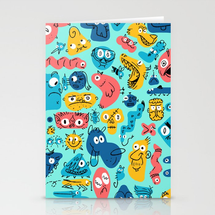 Colorful Character Shapes Stationery Cards