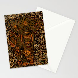 Aztec Elephant With Floral Pattern Stationery Cards