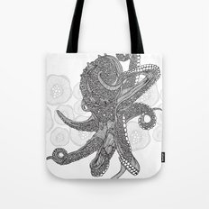 Octopus Bloom black and white Tote Bag