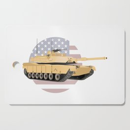 M1A1 Abrams Tank with American Flag Cutting Board