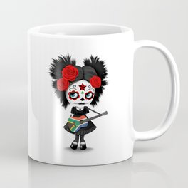 Day of the Dead Girl Playing South African Flag Guitar Coffee Mug