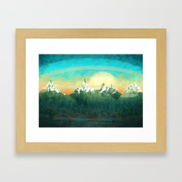 Mountains abowe the blue sky Framed Art Print