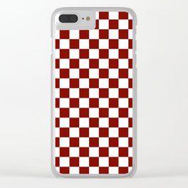 Vintage New England Shaker Barn Red and White Milk Paint Jumbo Square Checker Pattern Clear iPhone Case