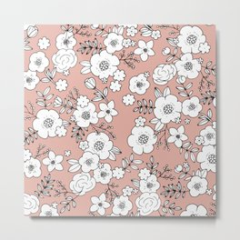 Romantic English Botanical flower Garden soft peach coral pink Metal Print