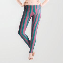 Candy Stripes Pattern Print Pink Teal Striped Pattern  Leggings