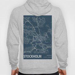 Stockholm Blueprint Street Map, Stockholm Colour Map Prints Hoody
