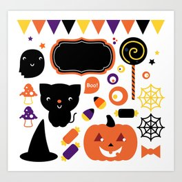 Halloween party set isolated on white Art Print