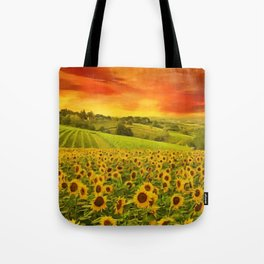 Tuscany Sunflowers and Sunflower Fields and Vineyards Italian Red Sunset landscape painting Tote Bag