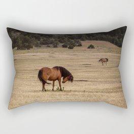 Brown Horse Landscape Rectangular Pillow
