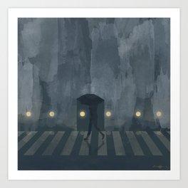 Rush home, it's raining Art Print