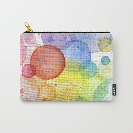 Watercolor Abstract Rainbow Circles and Splatters Carry-All Pouch
