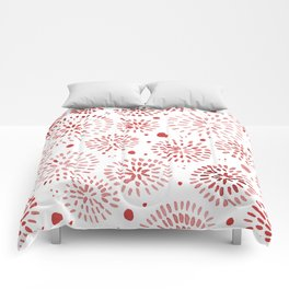 Abstract watercolor sparkles – red Comforters