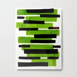 Lime Green Primitive Stripes Mid Century Modern Minimalist Watercolor Gouache Painting Colorful Stri Metal Print
