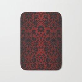 Dark Red and Black Damask Bath Mat