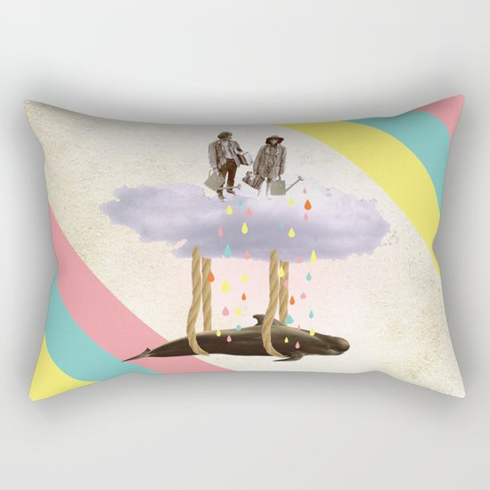 couple who travels on a cloud with a whale  Rectangular Pillow