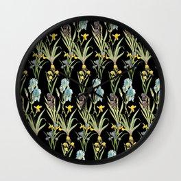 Irises 2 | Iris Flowers | Vintage Floral Pattern | Flower Patterns | Wall Clock
