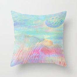 HOPSCOTCH SHRINE, a spaceship flying through a pastel art piece Throw Pillow