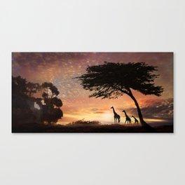Purple Safari Sunset- giraffe family Canvas Print