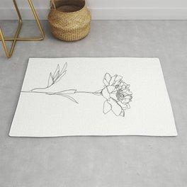 Botanical floral illustration line drawing - Lorna White Rug