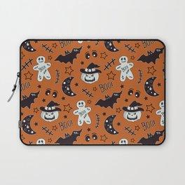 Halloween Ginger Man.  Gingerbread, bat, pumpkin, moon and stars Laptop Sleeve