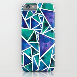 Geometric Turquoise and Blue Triangles iPhone Case