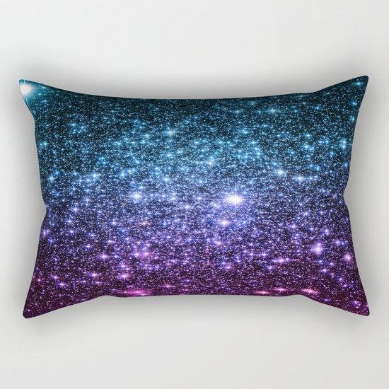 Galaxy Stars : Teal Violet Pink Ombre Rectangular Pillow