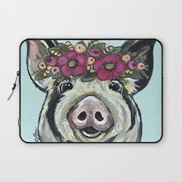Cute Pig Art, Flower Crown Pig Art Laptop Sleeve