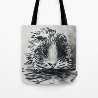 guinea pig Tote Bags featuring Charcoal Guinea Pig by Miss emZ