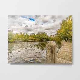 Wooden Staithe on the River Yare Metal Print