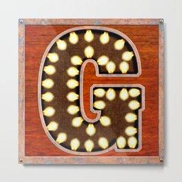 Monogram Letter G - Vintage Style Lighted Sign Metal Print