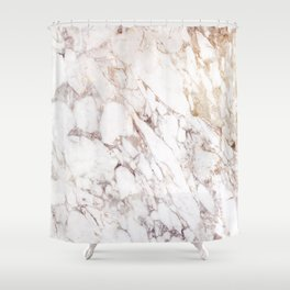 White Onyx Marble Shower Curtain