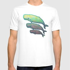 Whales Swimming Together Mens Fitted Tee White MEDIUM