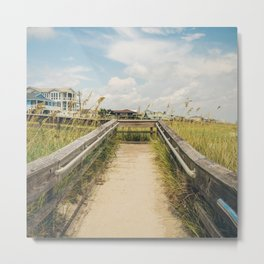 Beach Boardwalk (Square) Metal Print