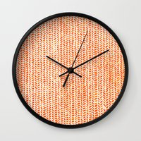 chevron Wall Clocks featuring Stockinette Orange by Elisa Sandoval