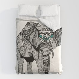 Tribal Elephant Black and White Version Comforters