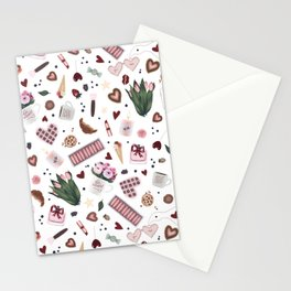 Hand Drawn Valentine Pattern Stationery Cards