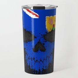 Flag of Turks and Caicos on a Chaotic Splatter Skull Travel Mug